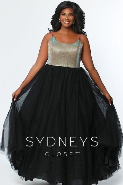 Sydney\'s Closet 7265 Holographic Gold Size 14 Prom Dress ...