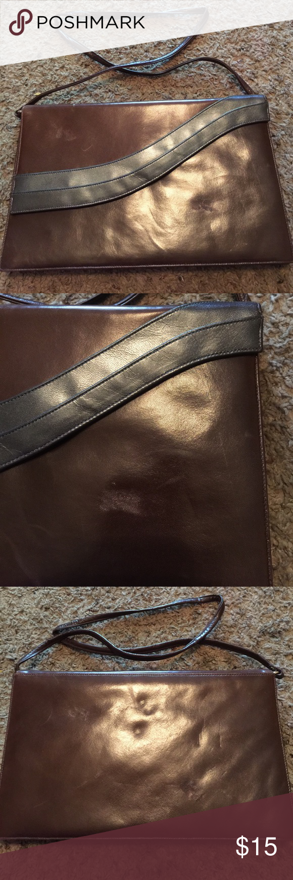 Vintage clutch with strap! Asymmetric vintage clutch with strap. Beautiful brown with metallic strip on closures. Great vintage find. Frenchy by California Bags Clutches & Wristlets