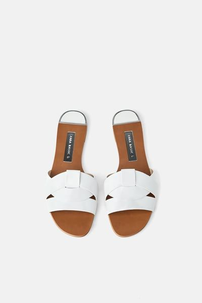 6bb0299207305 ZARA - Female - Leather crossover sandals - White - 5 in 2019 ...