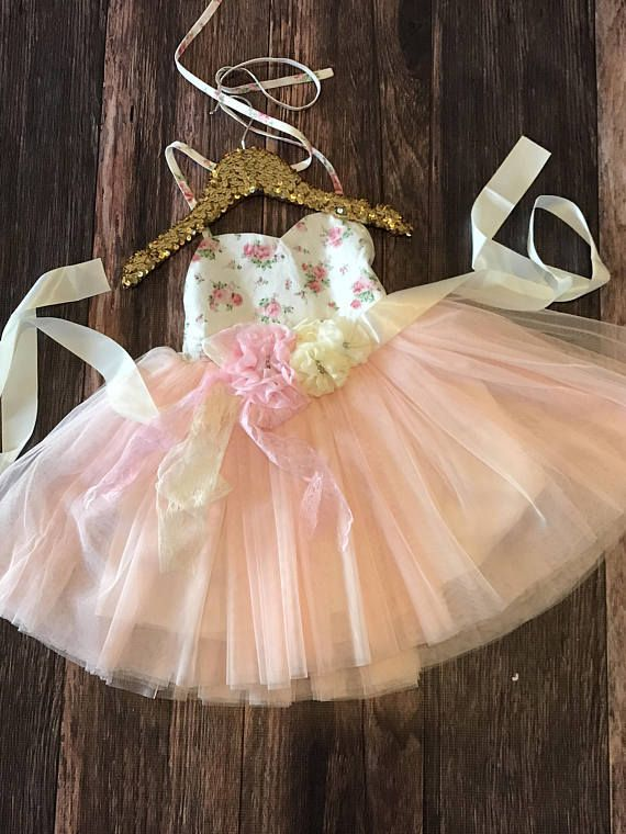 Country Couture Tutu Girls Dress / Floral Dress / First