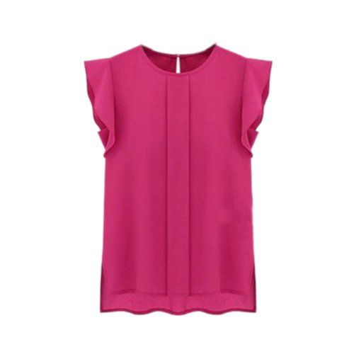 Top Women's Sleeve Ruffle Shoulder Chiffon @1,495. Disponible en azul, verde y rosado.