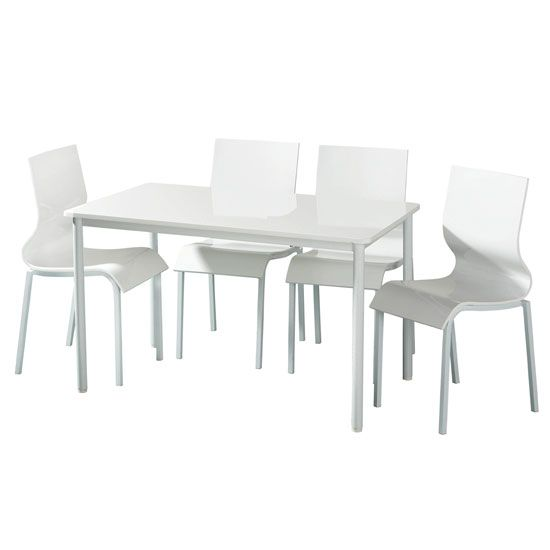 Modern White High Gloss Dining Table And 4 White Chairs Dining