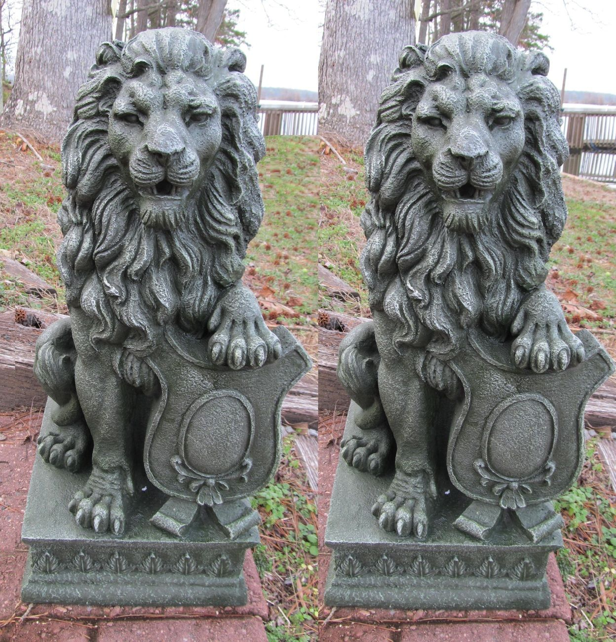 2 Lion Garden Driveway Figurine Statue Pair 25 Tall Statue Lion Sculpture Zeus Statue