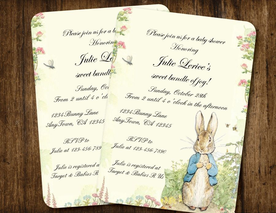 clever baby shower invitation wording%0A Birthday Invitations   Cute Baby Birth Party Card Invitation Design  Peter  Rabbit Vintage Style Baby Shower Or Birthday Design