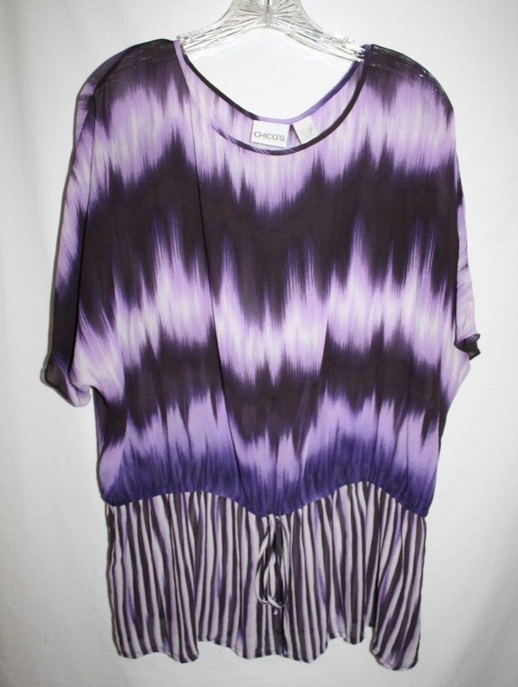 Chicos Misses 3 Purple Sheer Top Dolman Sleeve Peplum