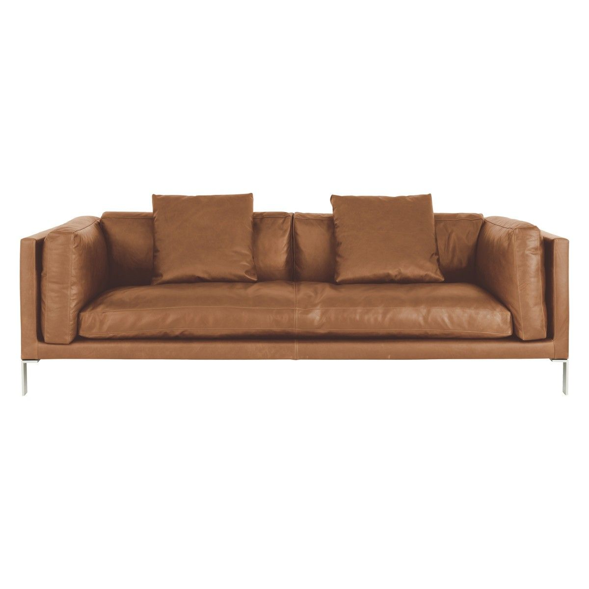 Habitat Sofa Newman Mid Tan Leather 3 Seater Sofa Buy Now At Habitat Uk