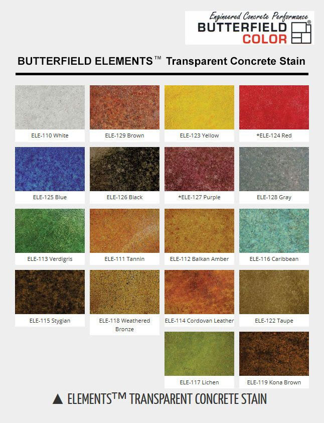 Butterfield Color Charts Stained Concrete Concrete