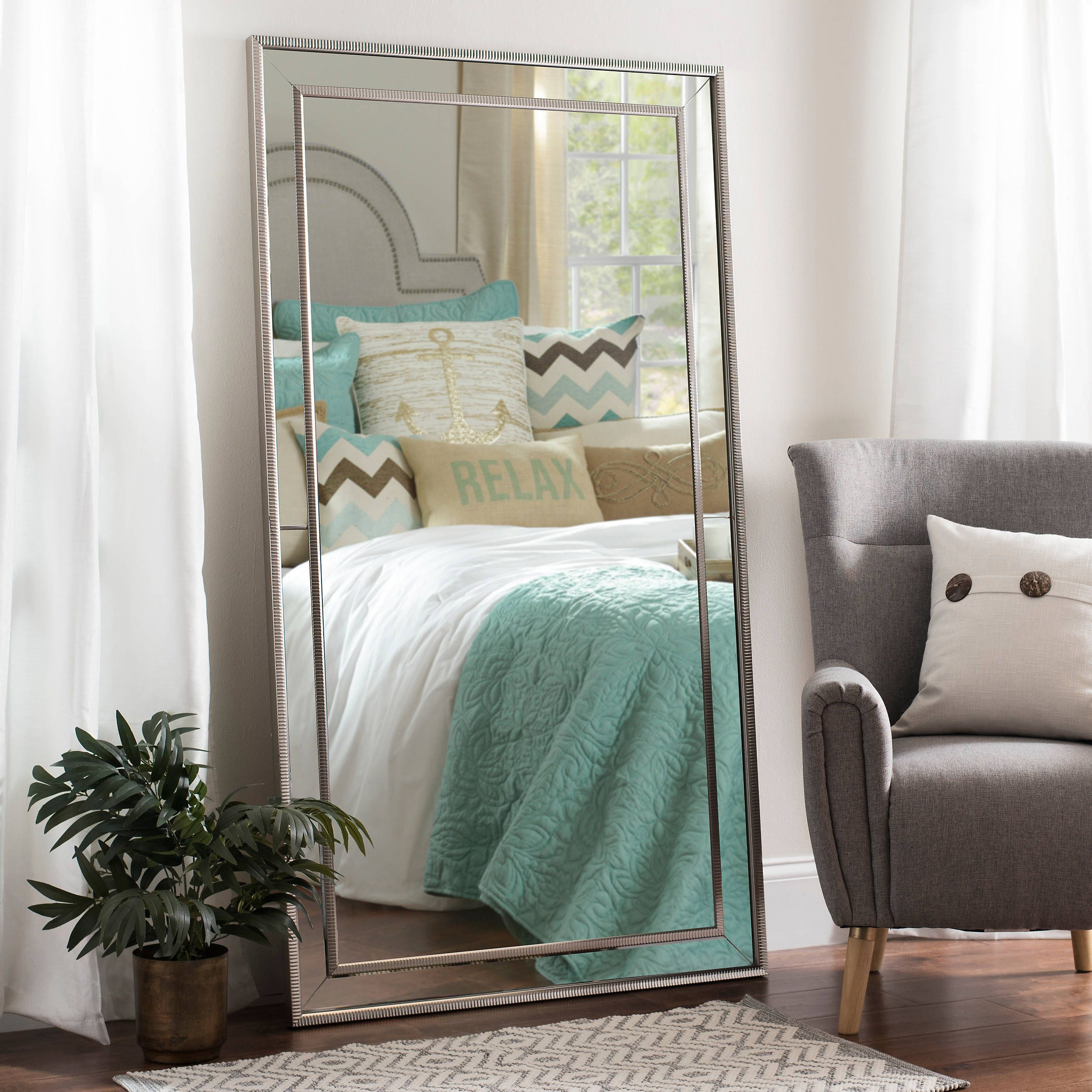 Large Silver Luxe Leaner Mirror, 37.2x67.2 in | Leaner ... on Floor Mirrors Decorative Kirklands id=99019