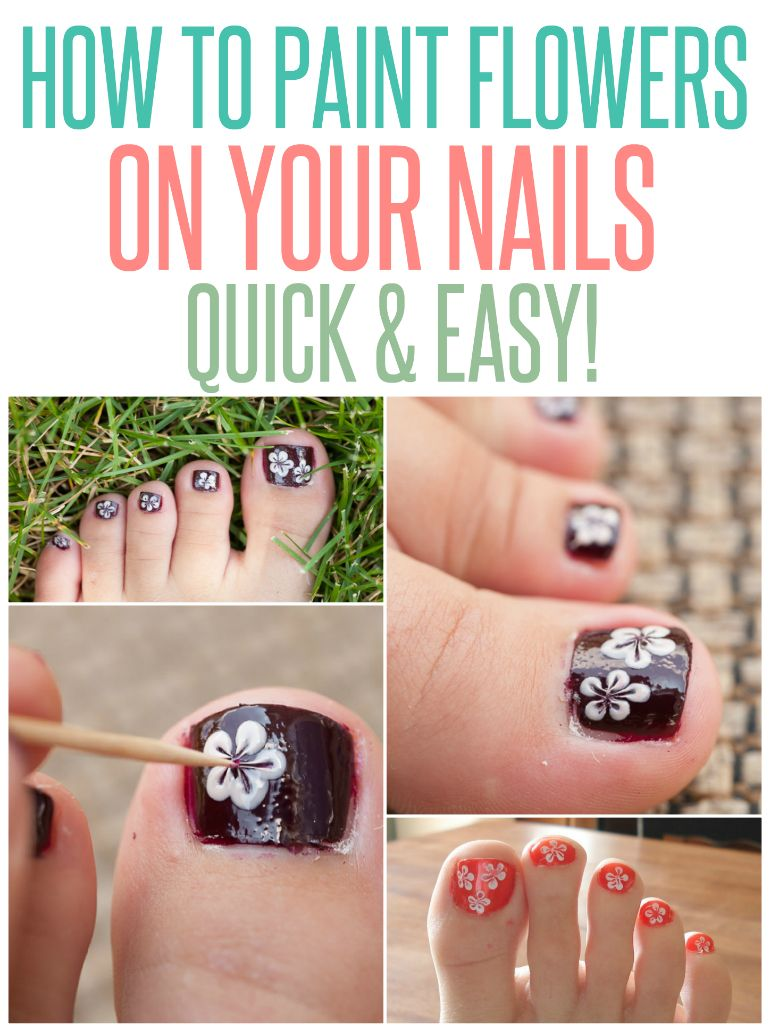 How to Paint Flowers on Toes | Paint flowers, Flower and Easy