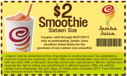 photograph relating to Jamba Juice Printable Coupon identified as $2 Smoothie 16 Dimensions Jamba Juice Printable Coupon