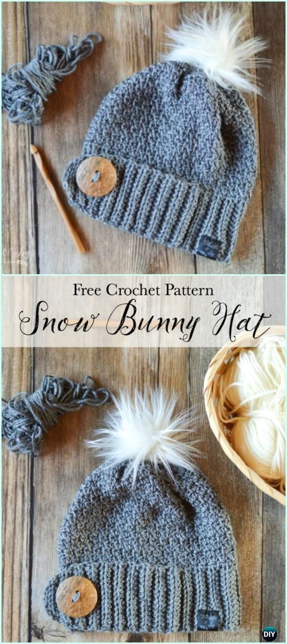 Crochet Snow Bunny Hat Free Pattern - Crochet Beanie Hat Free ...