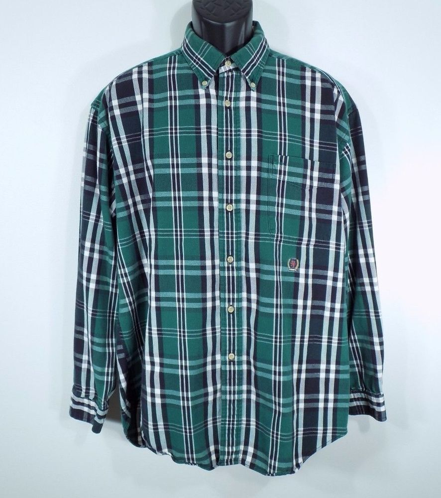 9ed8c2d18 Vintage Tommy Hilfiger Men's Large Long Sleeve Green Plaid Shirt 100%  Cotton #TommyHilfiger #ButtonFront