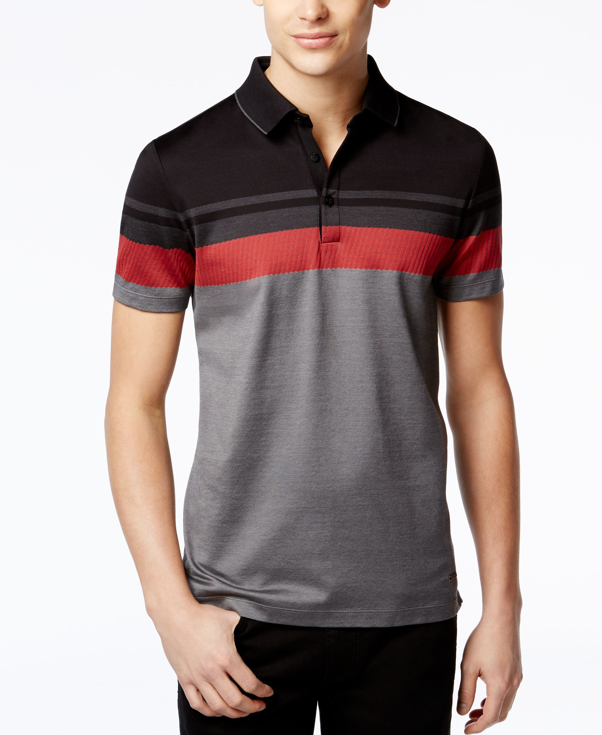 b525d40e8c110 Best Designer Polo Shirts  Calvin Klein. Premium Colorblocked Polo Shirt