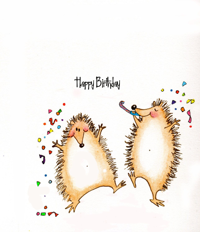 Iiiii happy birthday cute hedgehogs happy birthday greeting cute hedgehogs happy birthday greeting card by cartoongirl on etsy kristyandbryce Images