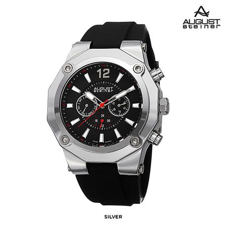 August Steiner Men's Multi-function Watch with Silicone Strap - Assorted Colors at 89% Savings off Retail!