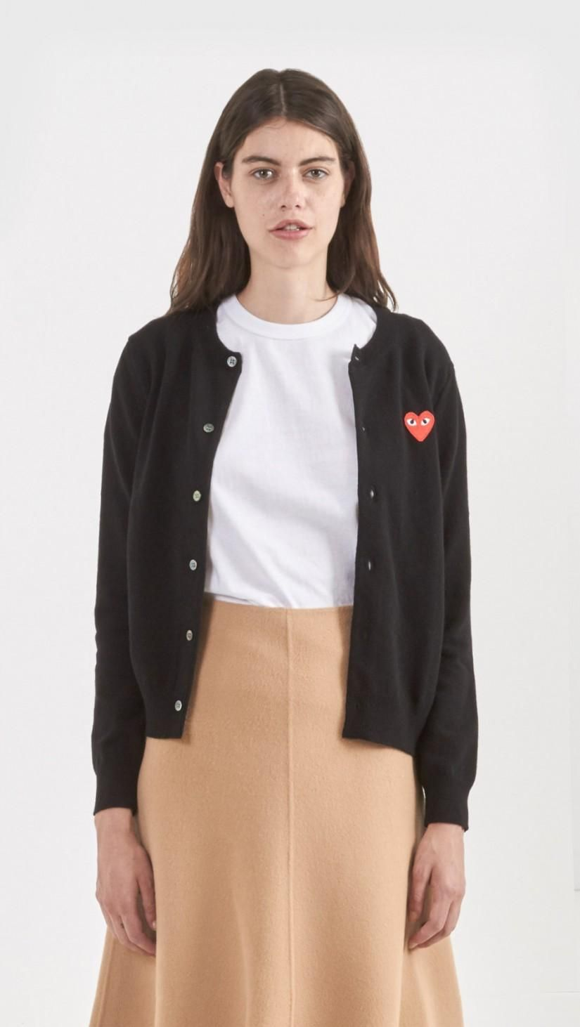 44dab8171840 Commes des Garcons PLAY Shrunken Cardigan in Black with Red Heart ...