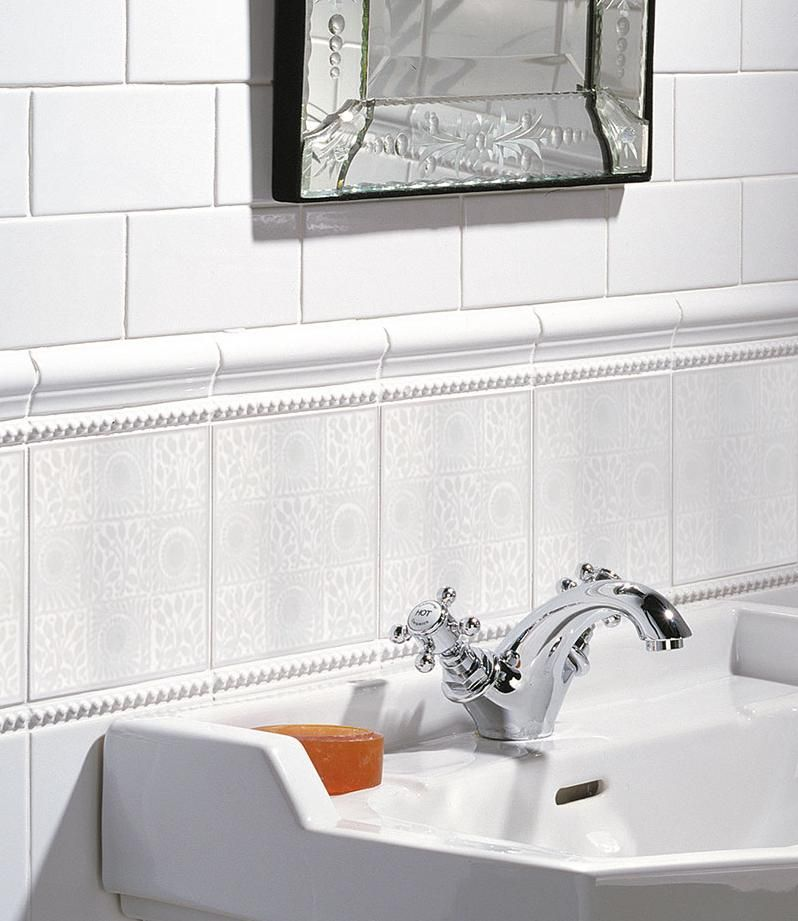 V A Patterened Wall Tiles Replicated In Traditional Victorian And Subtle Pure White 9 Square Offers Complete Freedom For Horizontal Vertical Borders