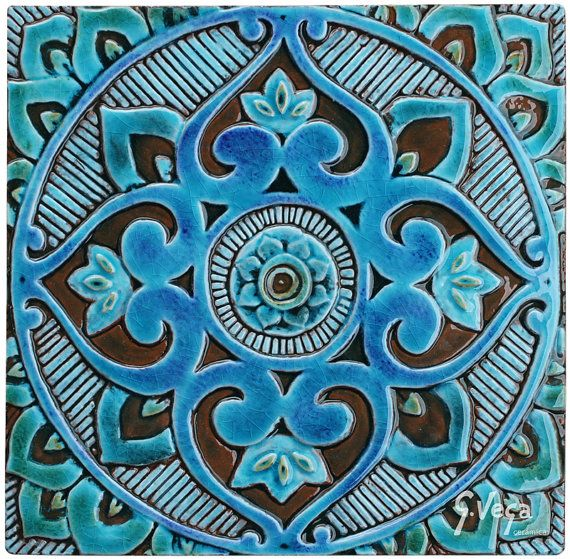 Decorative Tile Wall Art 4 Mandala Wall Hangings Made From Ceramic Set Of 4Gvega