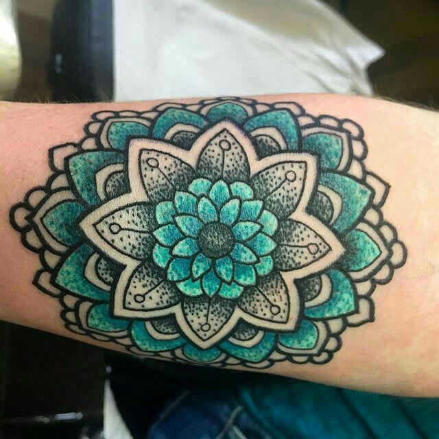 Blue Green Mandala Tattoo Tattoos Colorful Mandala Tattoo Cover Tattoo