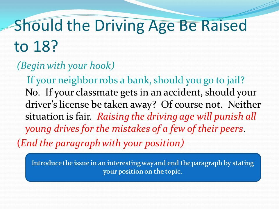 essay on driving age raised to 18