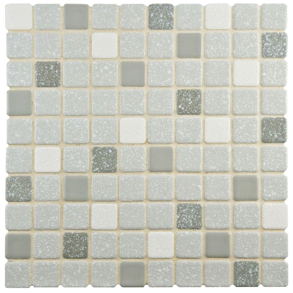 Merola Tile Crystalline Square Grey 11 3 4 In X 11 3 4 In X 5 Mm Porcelain Mosaic Tile Fkosrr08 Porcelain Mosaic Tile Porcelain Mosaic Tiles