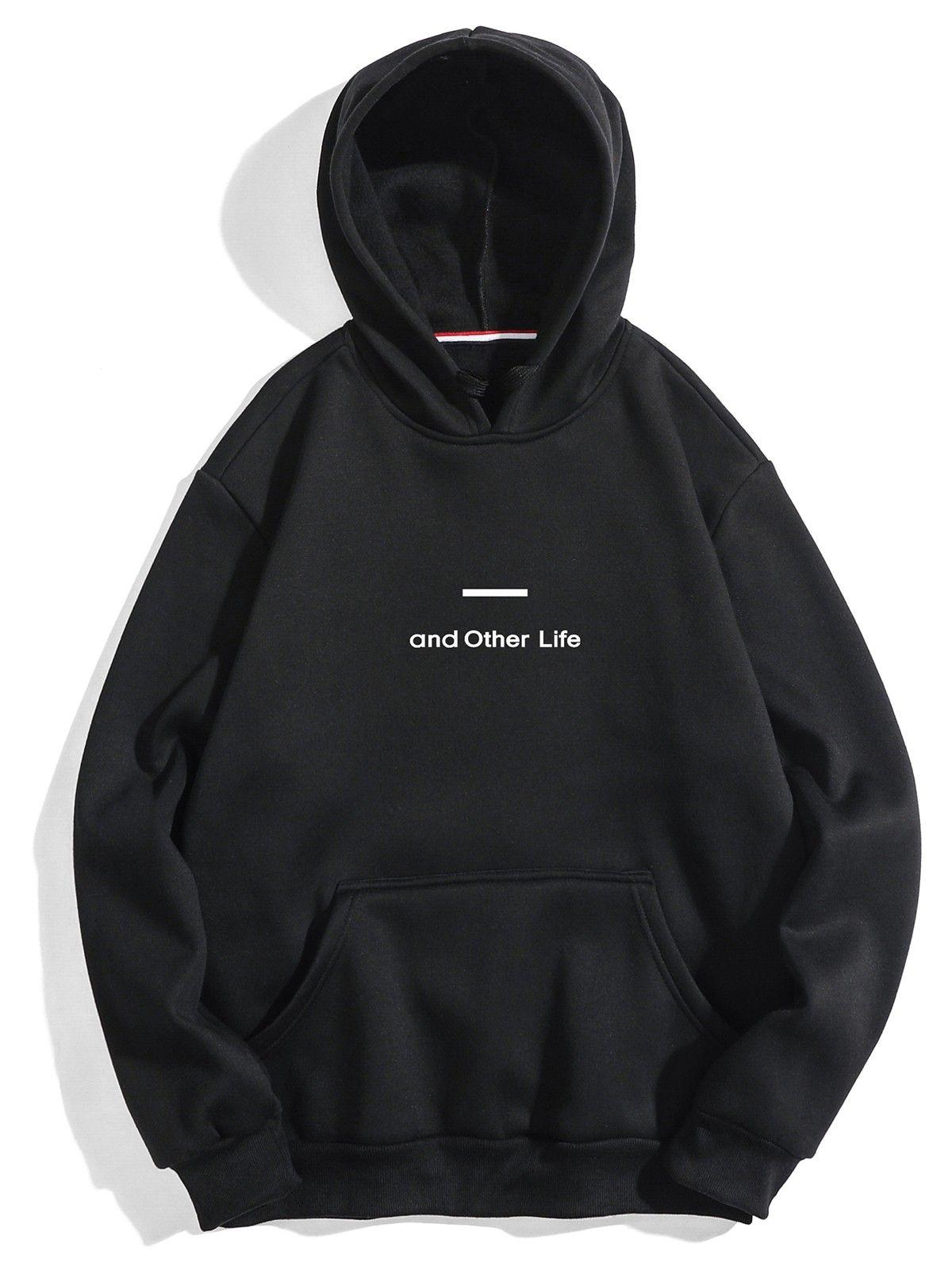 Casual Letter Soft Fleece Hoodie Black 4n42123721 Size Xs Sweatshirts Hoodies Men Printed Hooded Sweatshirt [ 1596 x 1200 Pixel ]