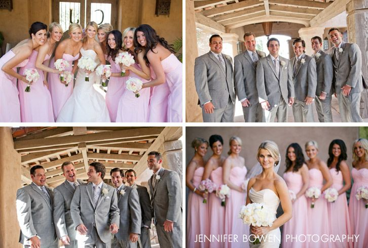 pink, grey, and white wedding