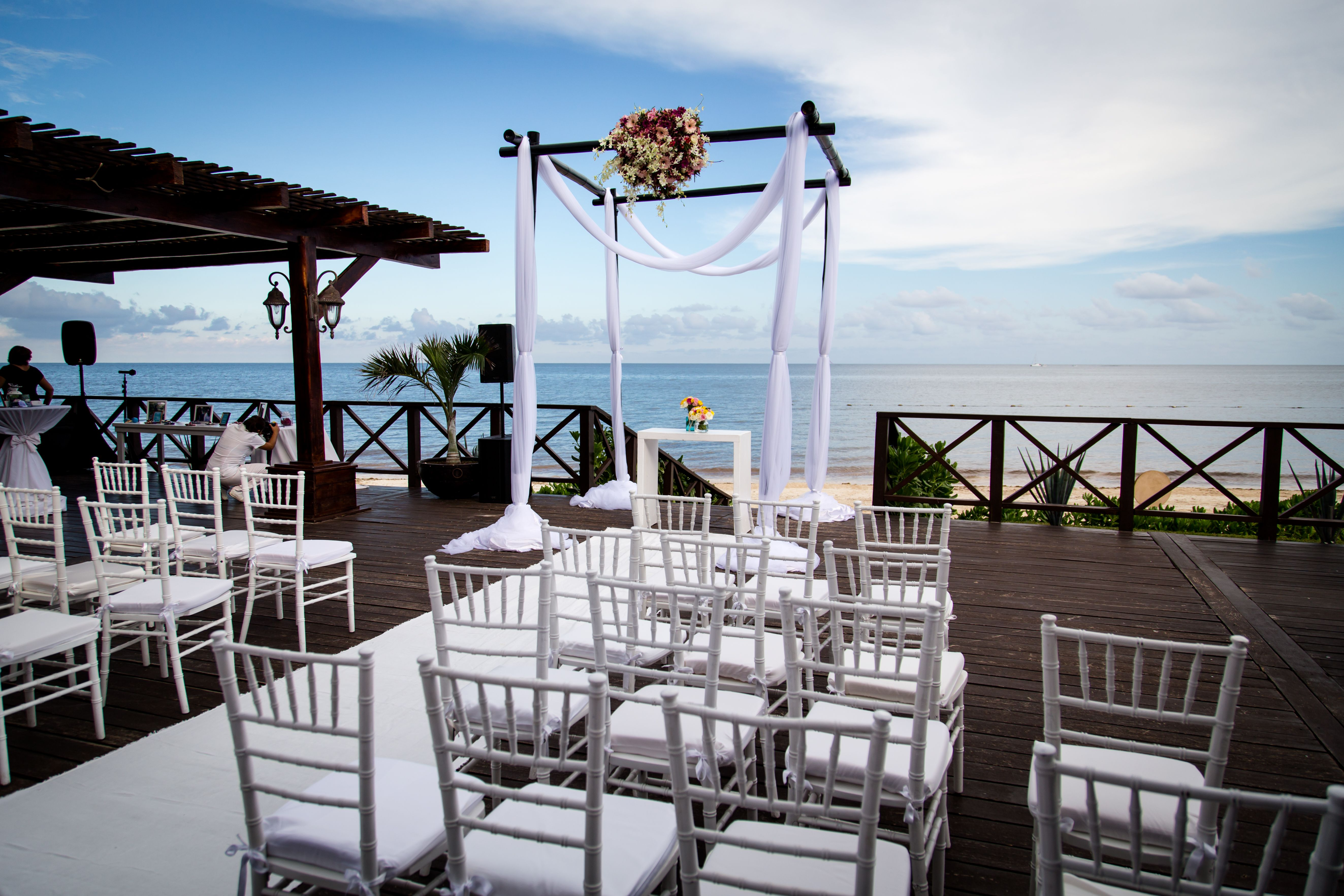 Beach Wedding Ceremony Oahu: Beautiful Ceremony Setup On The Tequila Terrace Here At