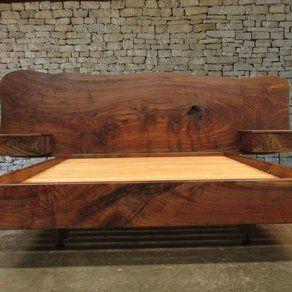 Claro Walnut Slab Headboard Bed California King Frame And