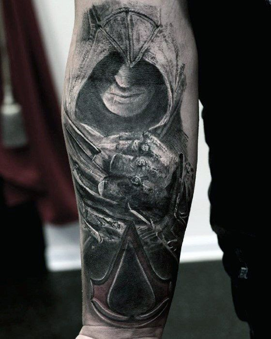 forearm assassins creed logo tattoo