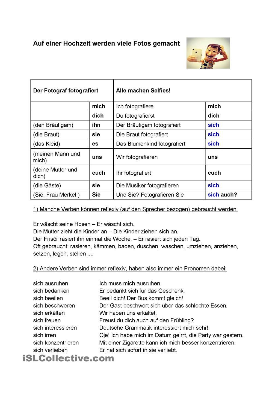 Reflexive Verben und Pronomen | konektoren und zu weiter ...