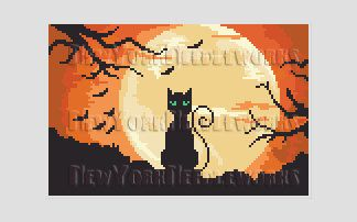 Halloween Cat and Moon Cross Stitch by NewYorkNeedleworks on Etsy