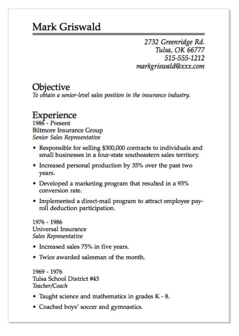 Example Of Senior Level Sales Resume http