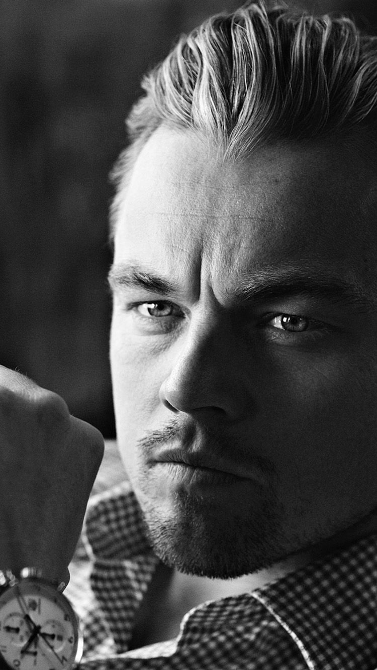 Get Wallpaper: http://bit.ly/24ypaHg hh92-bw-dark-leonardo-dicaprio-watch via http://iPhone6papers.com - Wallpapers for iPhone6 & plus