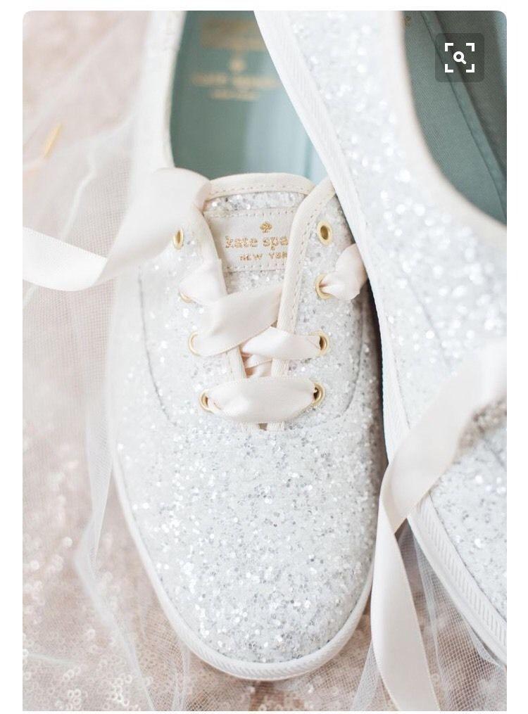 keds kate spade white glitter