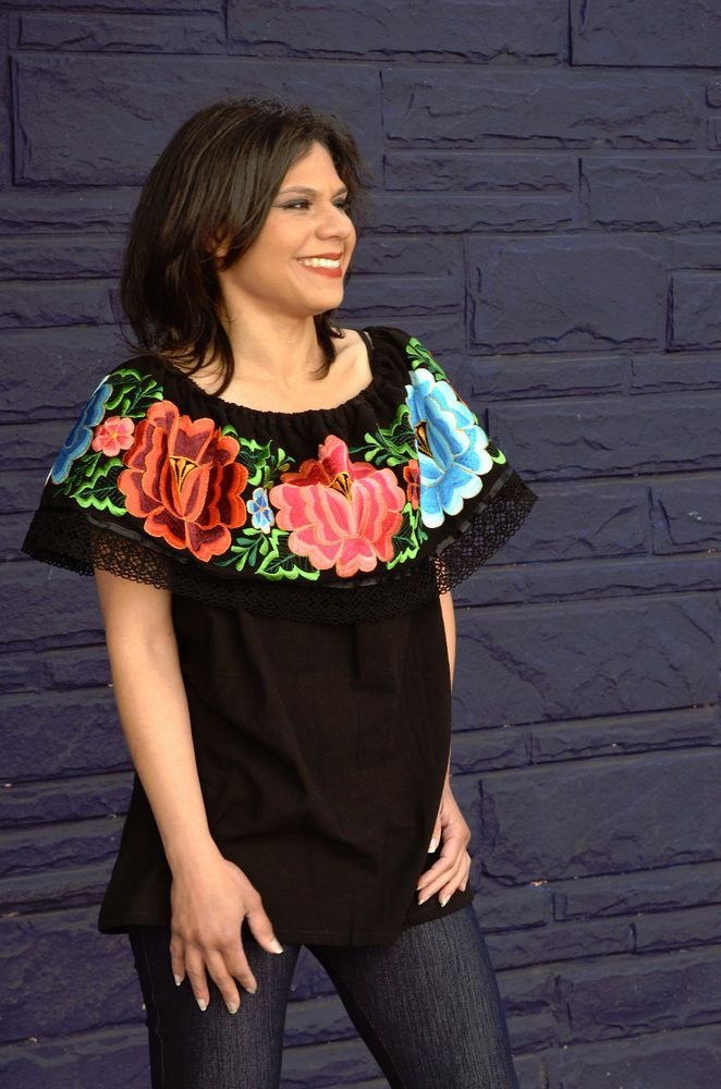 a5a80d70857 Mexican Off Shoulder Peasant Top Blouse  Tunic Embroidered Multicolor  Flowers L  Handmade  Tunic  Casual