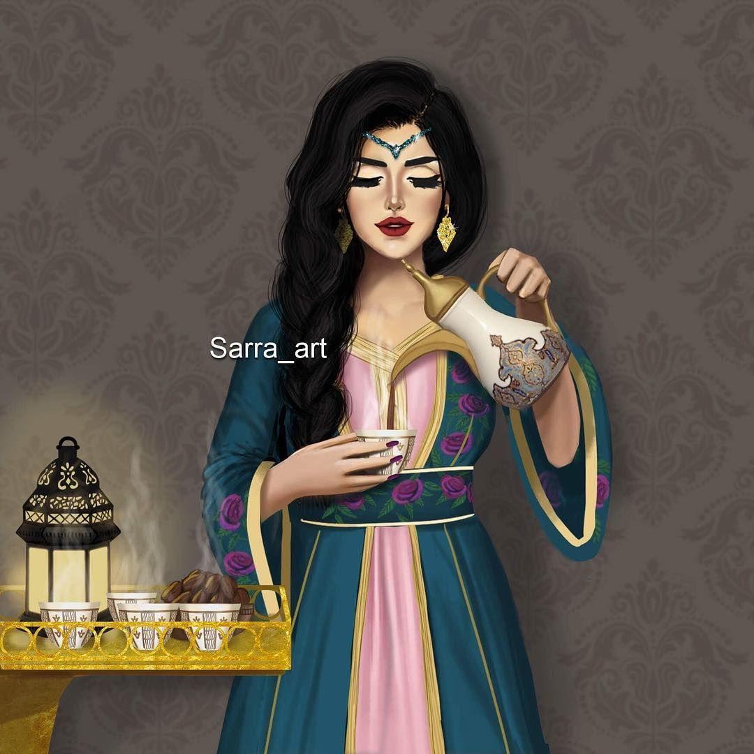 5 487 Likes 424 Comments Sara Ahmed Sarra Art On Instagram خلاص قررت في رمضان غسل الصحون على اختي والقهوه عليا Girly M Sarra Art Cute Girl Drawing