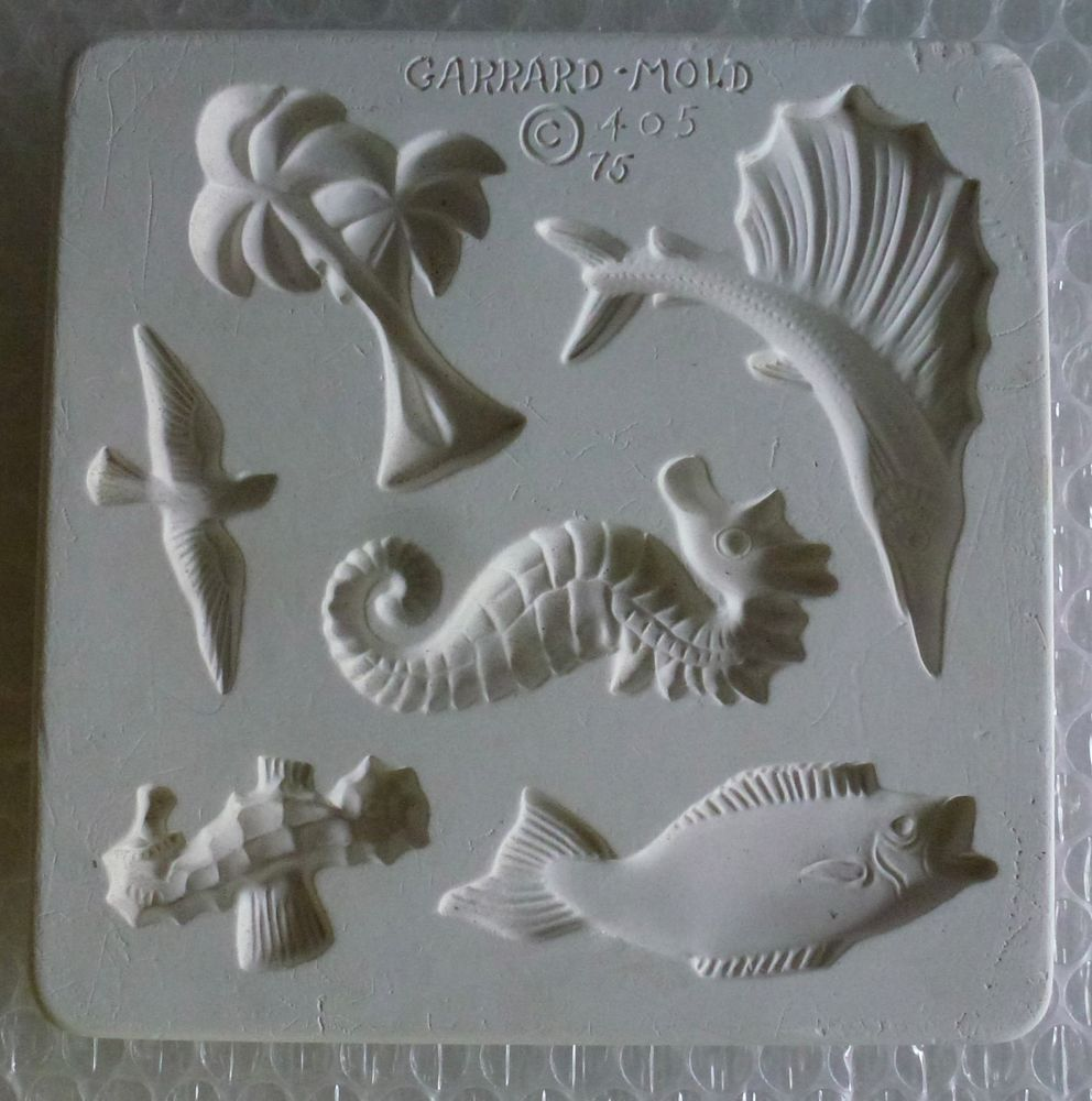 Garrard clay mold palms fish seahorse seagull soap crafts pottery