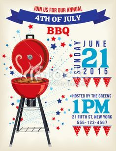 Th Of July Bbq Invitation Template On Red White And Blue Flags