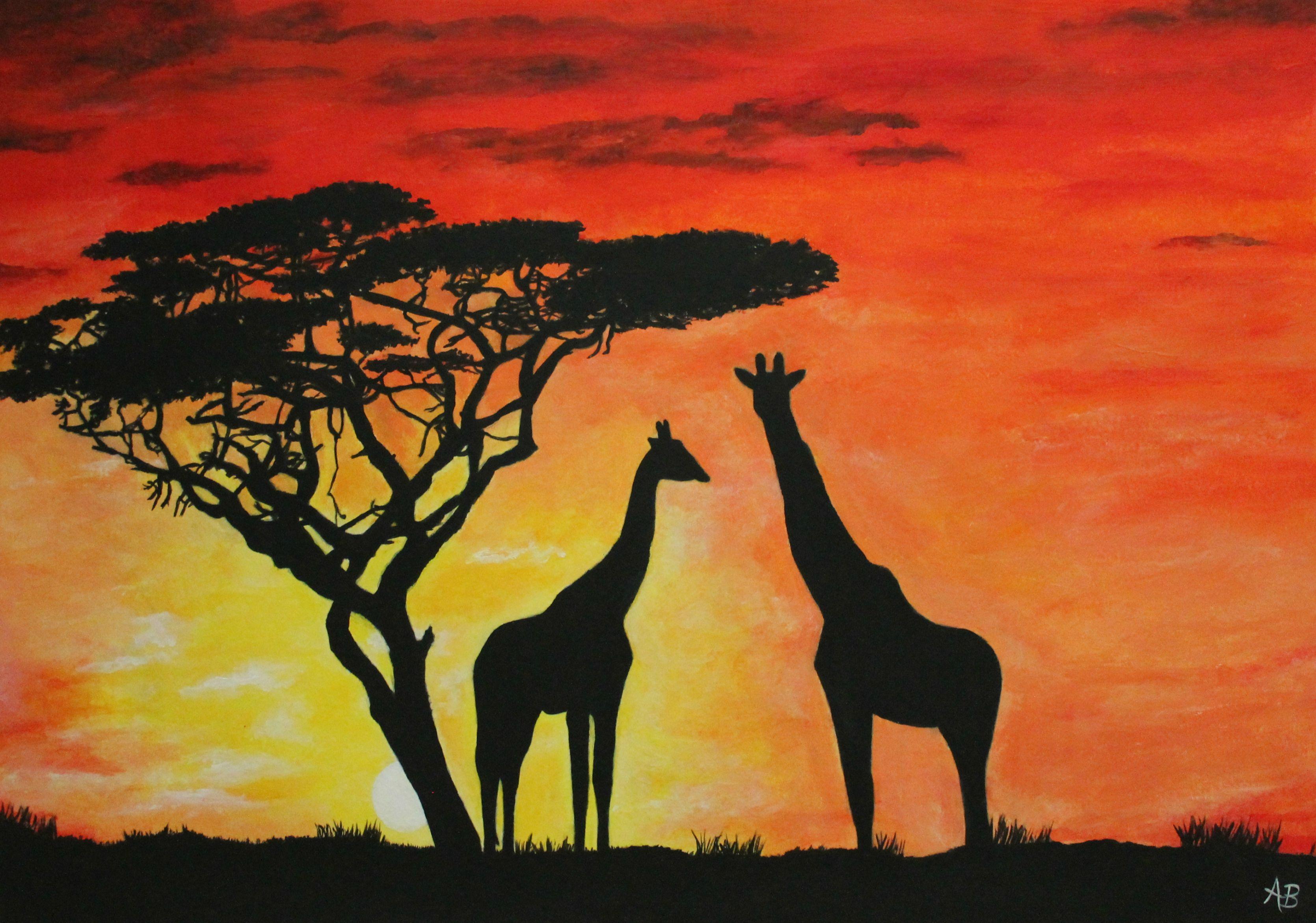 Savannah Sunset Painted With Acrylics Sunset Painting Painting Sunset Painting Acrylic
