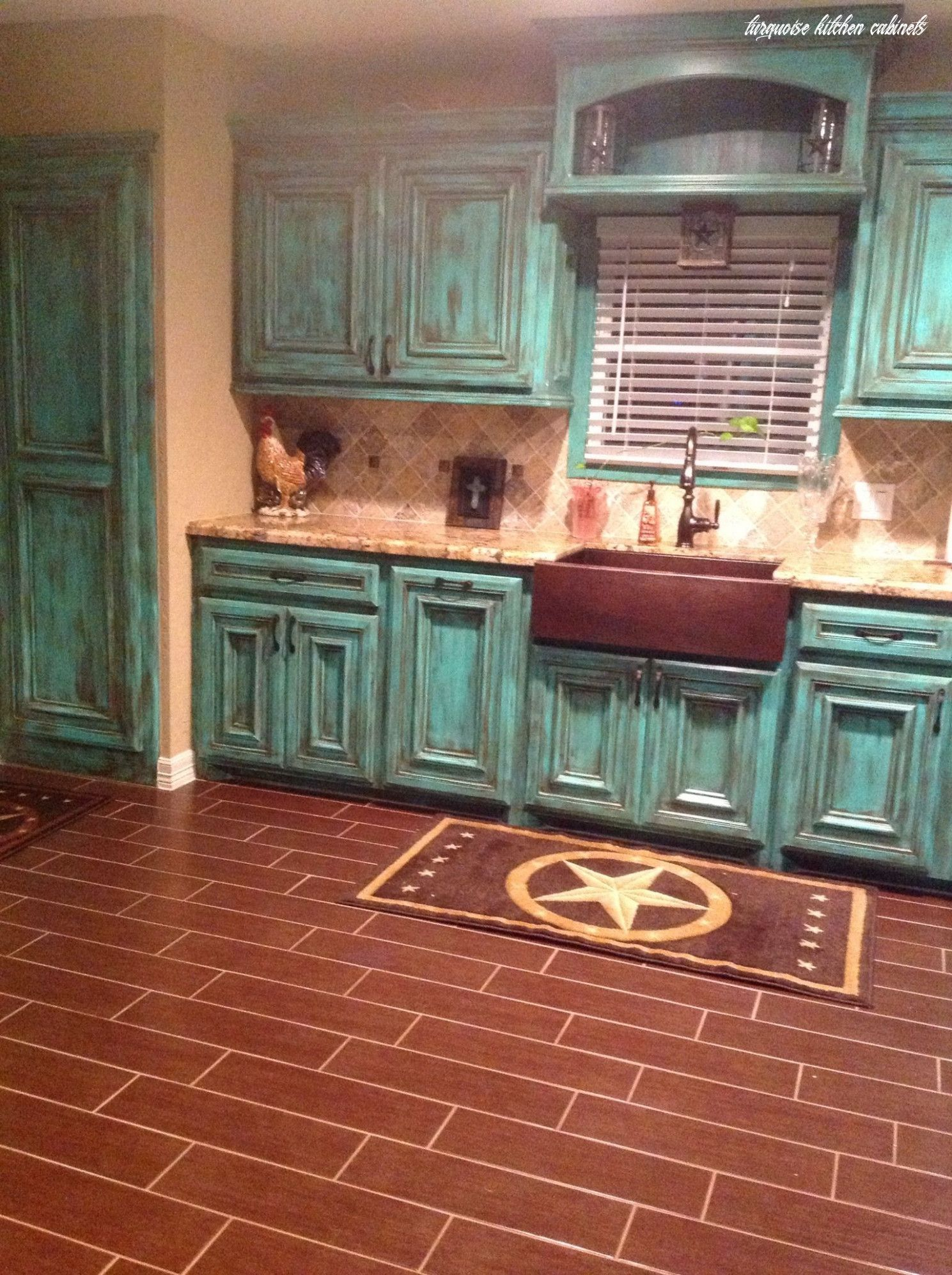This Is How Turquoise Kitchen Cabinets Will Look Like In 10 Years Time In 2020 Shabby Chic Kitchen Western Kitchen Decor Kitchen Cabinet Styles