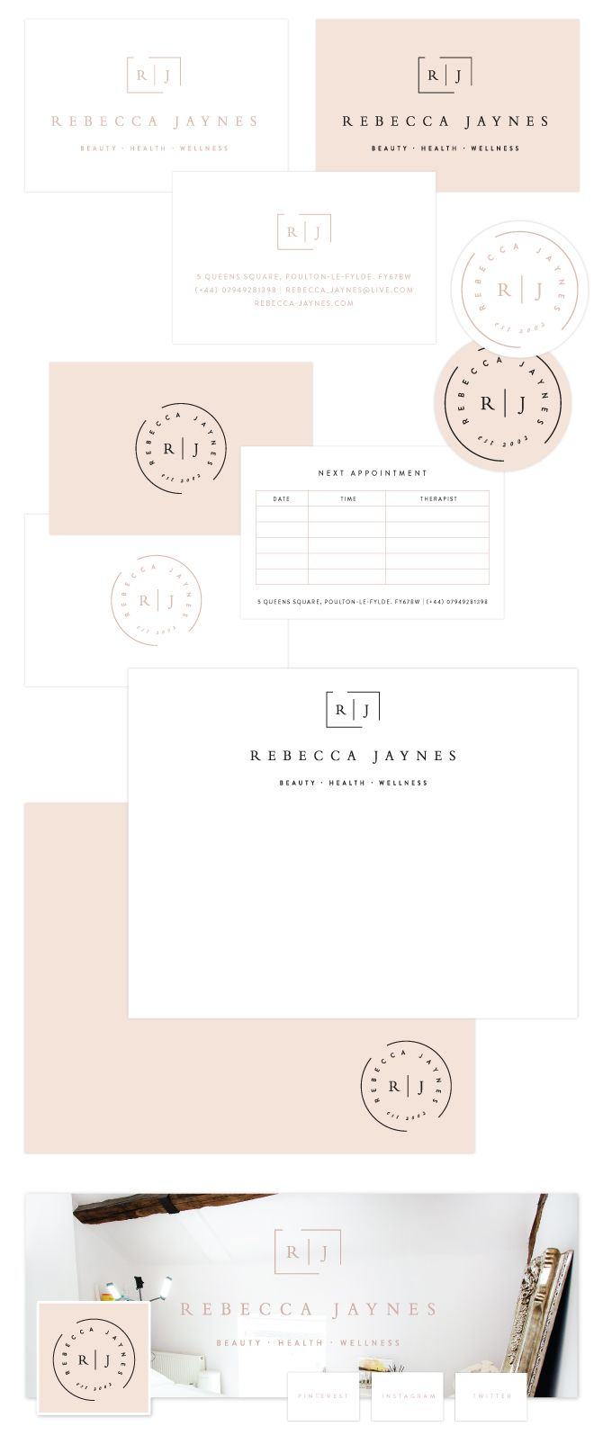 rebecca jaynes beauty salon brand design by salted ink