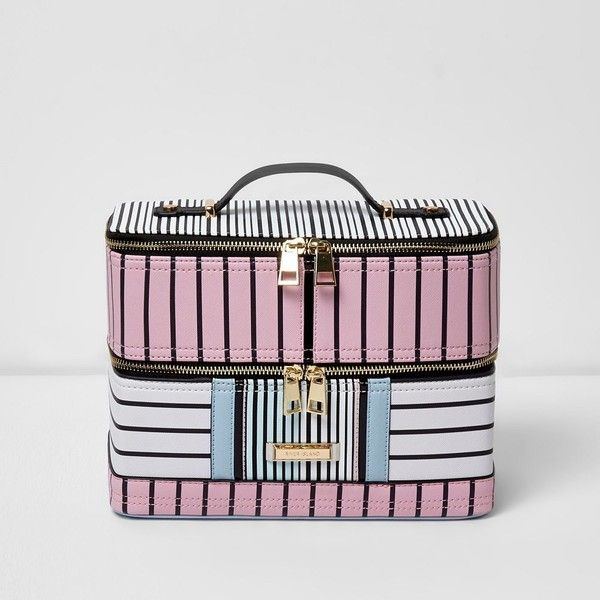River Island Pink And Blue Stripe Vanity Case 60 Liked On Polyvore Featuring Beauty Products Beauty Accessories Pink Bag Makeup Purse Beauty Accessories