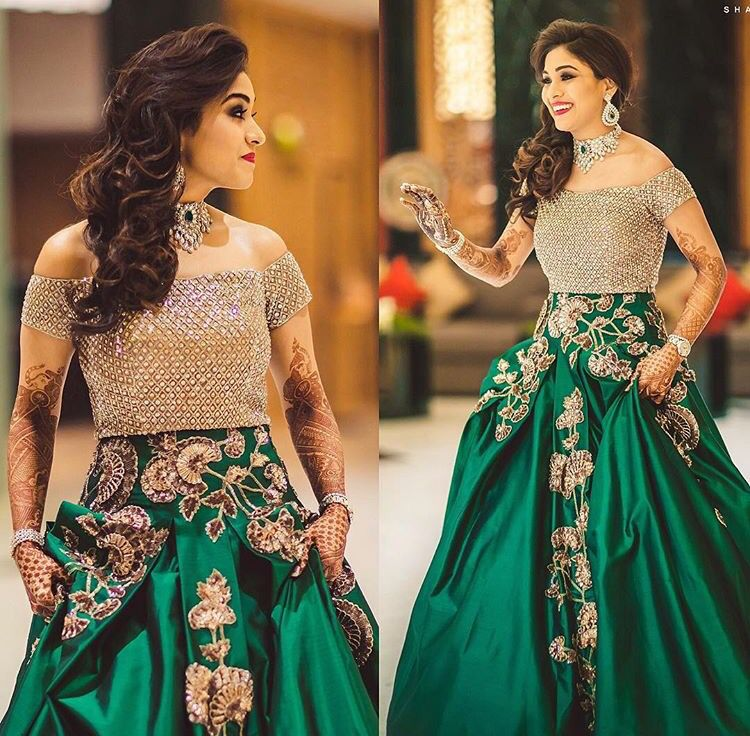 Modern bride . gown look hand crafted reception look