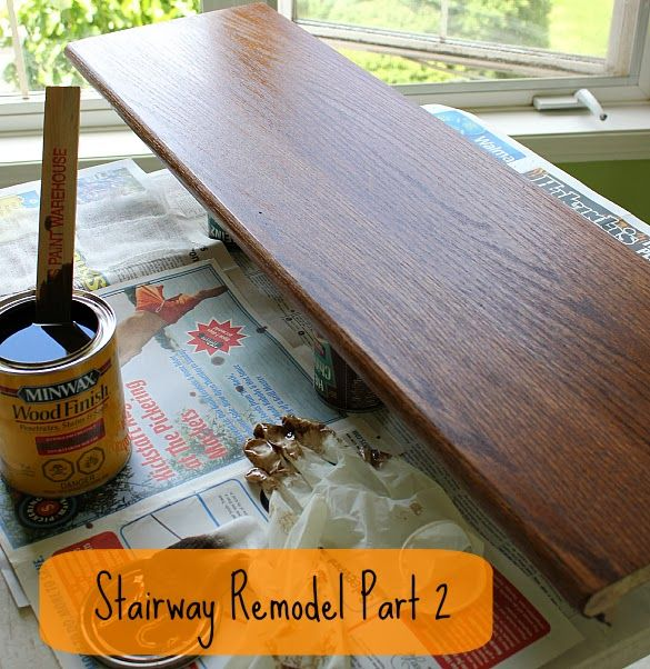 Stairway Remodel Part 2: Sanding and Staining Stair Treads and Rails - The Cookie Writer