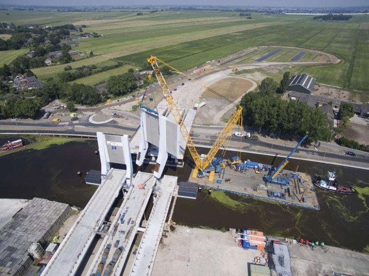 Demag crawler crane works on water for Sarens