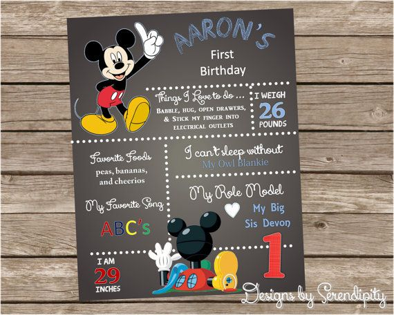 mickey mouse theme birthday poster board sign 16x20 mickey mouse