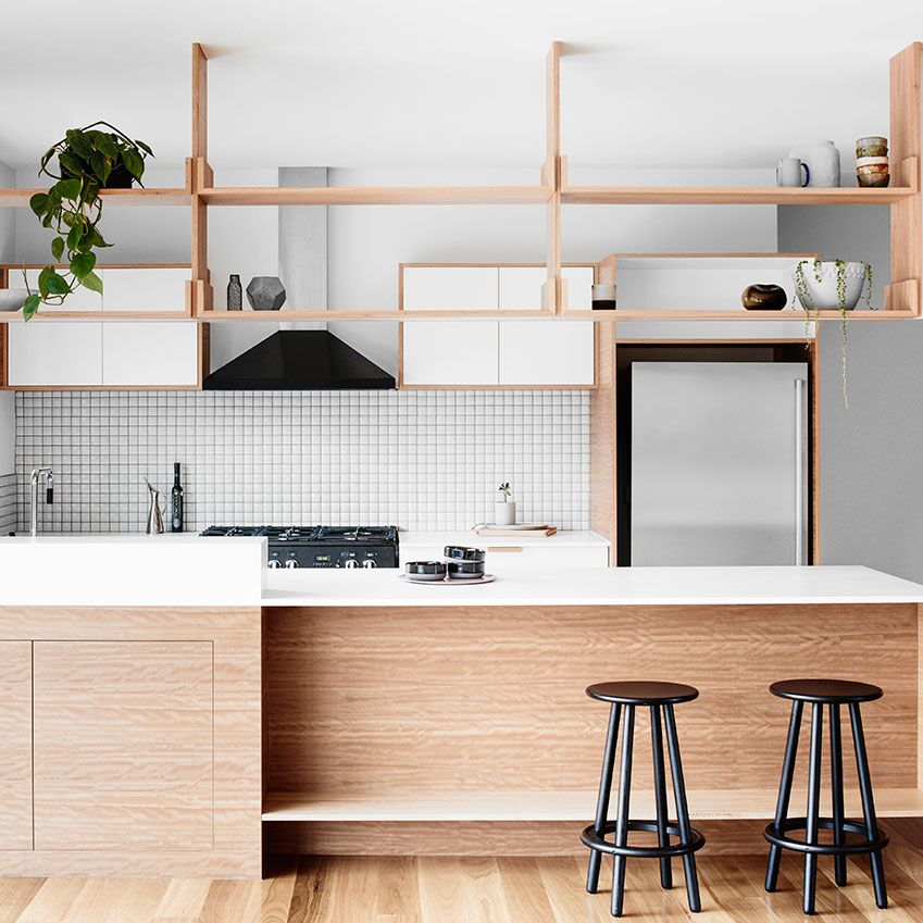 The brief for Australian firm Doherty Design Studio (dohertydesignstudio.com.au) was to create a contemporary kitchen  in keeping with the 1970s architecture of  this Melbourne home. The result? A focus  on native timber and crisp, white finishes