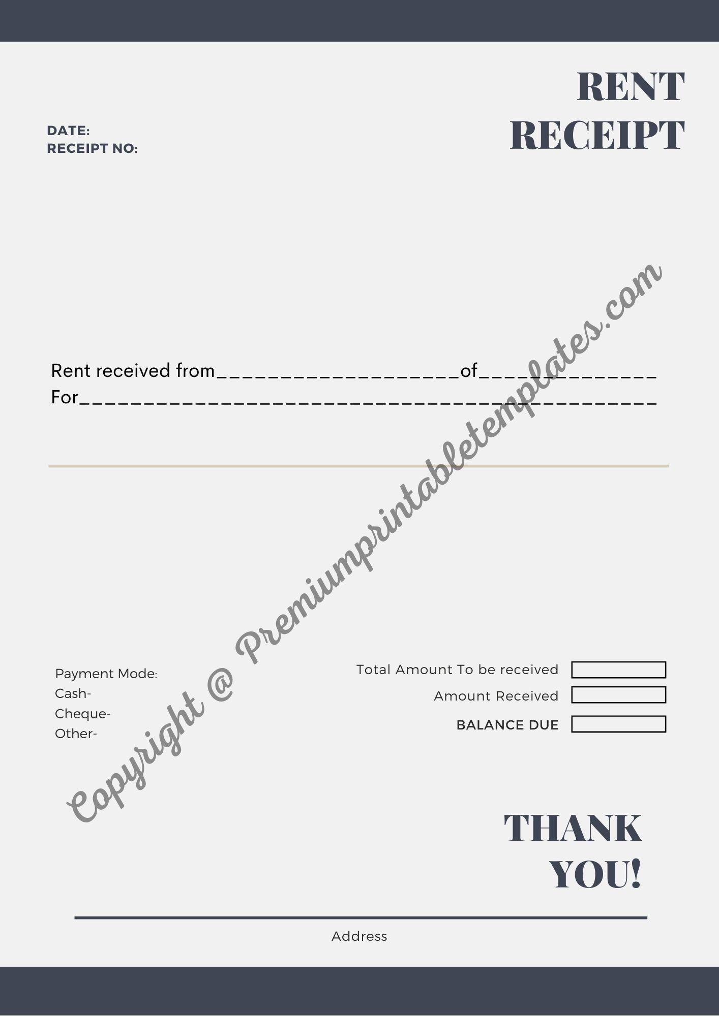 Printable Rent Receipt Pdf Word Template Printable Receipt Template Words