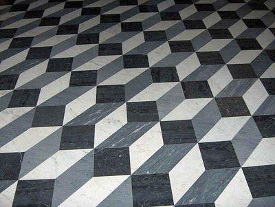 Tumbling block tile floor